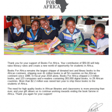 Books For Africa 2018 Success!